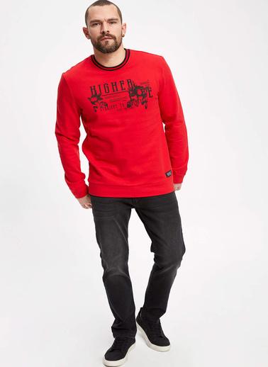 DeFacto Yazı Baskılı Slim Fit Sweatshirt Kırmızı